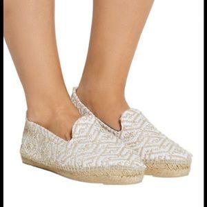 Manebi jute Mykonos espadrille shoes tan white 8